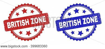 Rosette British Zone Seal Stamps. Flat Vector Grunge Seal Stamps With British Zone Message Inside Ro