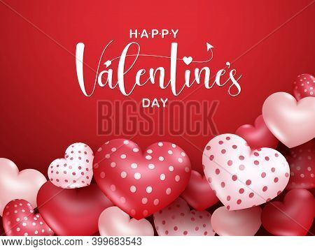 Valentines Vector Banner Background. Happy Valentine's Day Greeting Text With Balloon Hearts In Empt