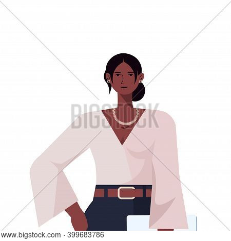Businesswoman Leader In Formal Wear Holding Laptop African American Business Woman Leadership Best B