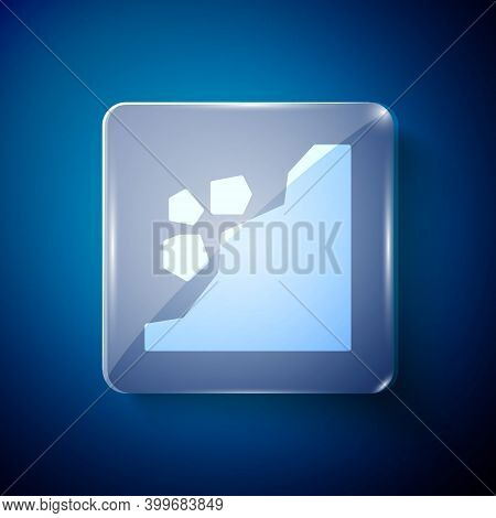 White Landslide Icon Isolated On Blue Background. Stones Fall From The Rock. Boulders Rolling Down A