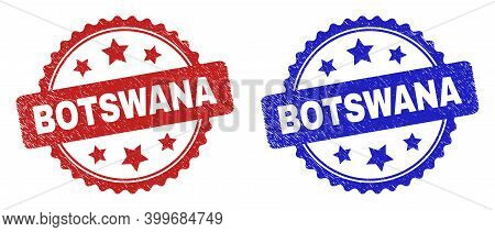 Rosette Botswana Watermarks. Flat Vector Distress Seals With Botswana Caption Inside Rosette Shape W