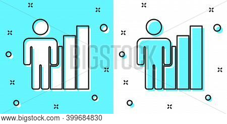 Black Line Productive Human Icon Isolated On Green And White Background. Idea Work, Success, Product