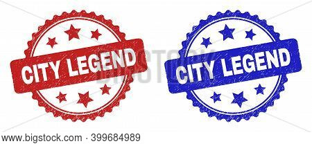 Rosette City Legend Watermarks. Flat Vector Textured Watermarks With City Legend Caption Inside Rose
