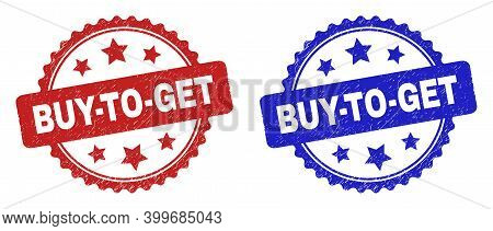 Rosette Buy-to-get Seal Stamps. Flat Vector Grunge Seal Stamps With Buy-to-get Phrase Inside Rosette