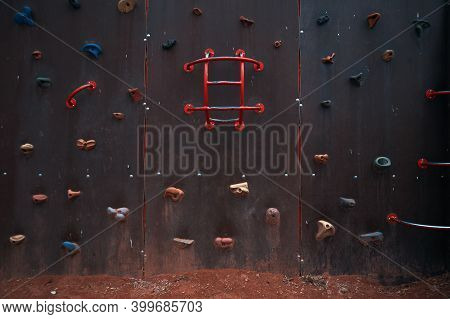 Details Of One Colorful Climbing Wall For Kids.