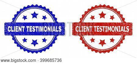 Rosette Client Testimonials Seal Stamps. Flat Vector Scratched Stamps With Client Testimonials Messa