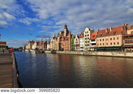 Gdansk, Poland - 18 Sep 2015: The Waterfront At Sunrise In Gdansk, Poland