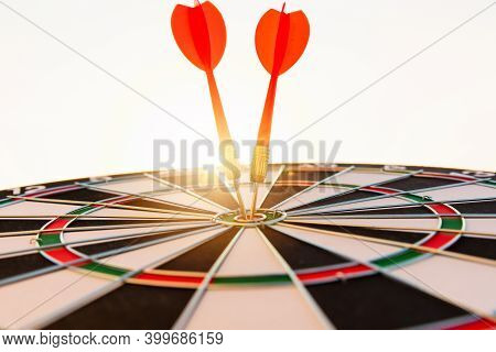 Dart Arrow Hit To Center On Bullseye(bull's-eye) Of A Dartboard Is A Target Of Purpose Challenge Bus