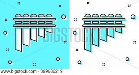 Black Line Pan Flute Icon Isolated On Green And White Background. Traditional Peruvian Musical Instr