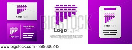 Logotype Pan Flute Icon Isolated On White Background. Traditional Peruvian Musical Instrument. Zampo