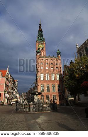 Gdansk, Poland - 18 Sep 2015: The Vintage Church Of Gdansk In Northern Poland