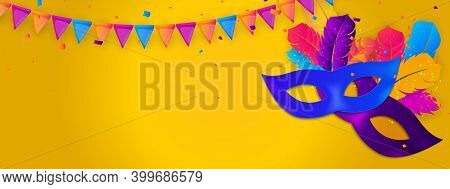 Carnaval Background Template.traditional Mask With Feathers And Confetti For Fesival, Masquerade, Pa
