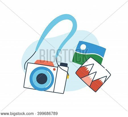 Concept Of Phototour. Analog Camera With Snapshots Of Nature Landscapes. Top View Composition Of Pho