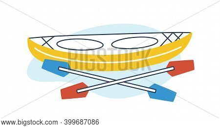 Icon Of Rowing Boat With Paddles. Empty Kayak With Oars. Concept Of Extreme Sport And Summer Water A