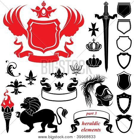 Set Of Heraldic Silhouettes Elements - Icons Of Blazon, Crown, Lion, Ribbon, Torch, Sword, Helmet, F