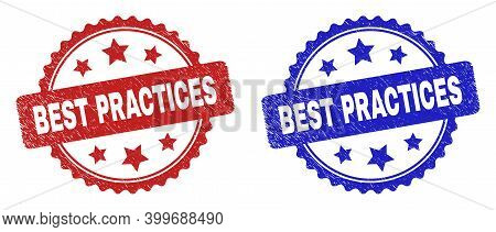 Rosette Best Practices Seal Stamps. Flat Vector Grunge Seal Stamps With Best Practices Phrase Inside