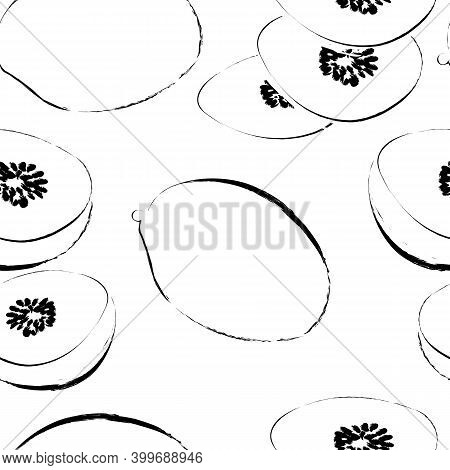 Seamless Pattern With Outline Kiwi Fruits Isolated On White. Vector Modern Stock Illustration Of The