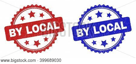 Rosette By Local Seal Stamps. Flat Vector Distress Seal Stamps With By Local Message Inside Rosette