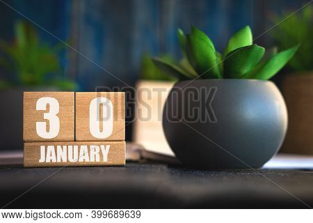 January 30th. Day 30 Of Month, Cube Calendar With Date And Pot With Succulent Placed On Table At Hom