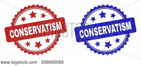Rosette Conservatism Seals. Flat Vector Grunge Seals With Conservatism Text Inside Rosette With Star