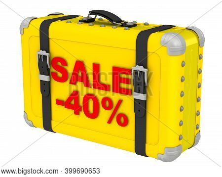 Sale -40%. The Inscription On A Yellow Suitcase. Yellow Suitcase With Red Labeled Sale -40%. Isolate