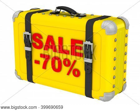 Sale -70%. The Inscription On A Yellow Suitcase. Yellow Suitcase With Red Labeled Sale -70%. Isolate
