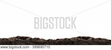 Dirt Heap, Soil Pile On White, Horizontal Dirt, Black Soil For Construction And Gardening Concept, C