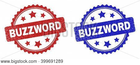 Rosette Buzzword Seal Stamps. Flat Vector Textured Stamps With Buzzword Title Inside Rosette Shape W