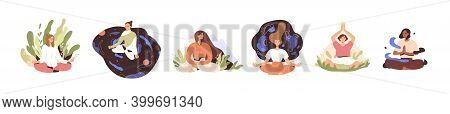 Set Of Tranquil Women With Closed Eyes And Croosed Legs Meditating In Yoga Lotus Posture. Meditation