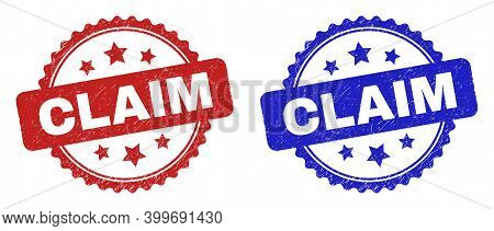 Rosette Claim Seal Stamps. Flat Vector Textured Seal Stamps With Claim Text Inside Rosette With Star