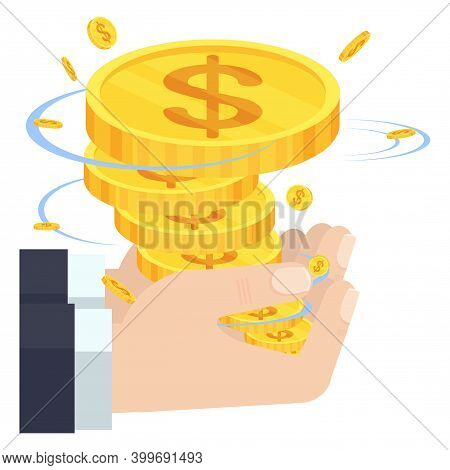 Hand Holding Whirlwind Of Money. Financial Success.