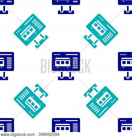 Blue Ticket Office To Buy Tickets For Train Or Plane Icon Isolated Seamless Pattern On White Backgro