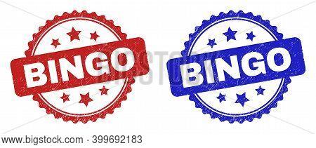 Rosette Bingo Seal Stamps. Flat Vector Distress Stamps With Bingo Title Inside Rosette With Stars, I