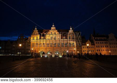 Gdansk, Poland - 17 Sep 2015: The Vintage Gate In Gdansk In Northern Poland At Night