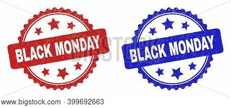 Rosette Black Monday Seal Stamps. Flat Vector Textured Seal Stamps With Black Monday Caption Inside