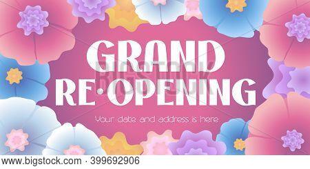 Vector Advertising Banner For Grand Opening Or Re-opening Illustration With Flowers