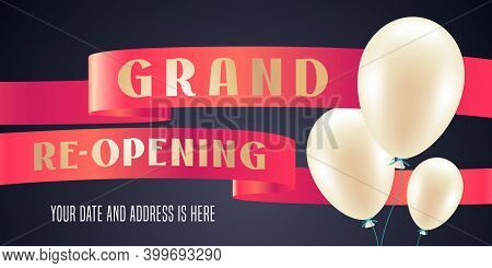 Grand Opening Or Re Opening Vector Background. Red Ribbon Design Element
