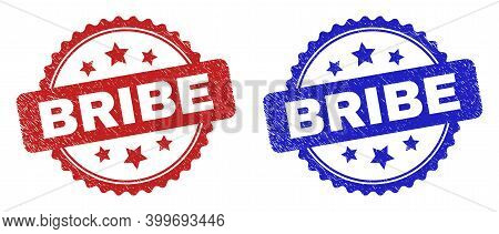 Rosette Bribe Seal Stamps. Flat Vector Distress Seal Stamps With Bribe Title Inside Rosette With Sta
