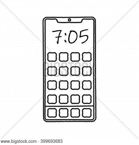 Smartphone Outline Mockup In Sketch Handdrawn Design.