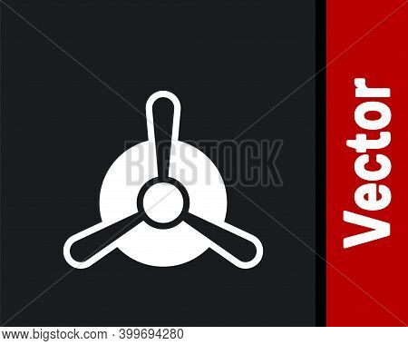 White Plane Propeller Icon Isolated On Black Background. Vintage Aircraft Propeller. Vector