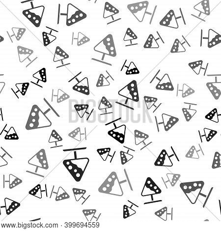 Black Road Sign Avalanches Icon Isolated Seamless Pattern On White Background. Snowslide Or Snowslip