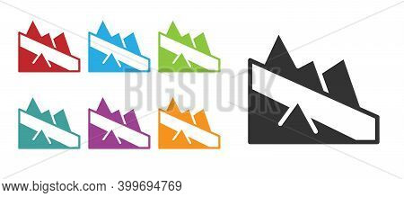 Black Mountain Descent Icon Isolated On White Background. Symbol Of Victory Or Success Concept. Set