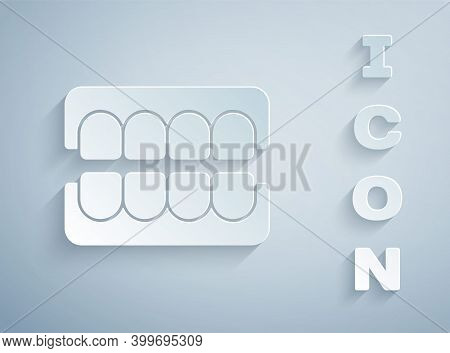 Paper Cut False Jaw Icon Isolated On Grey Background. Dental Jaw Or Dentures, False Teeth With Incis