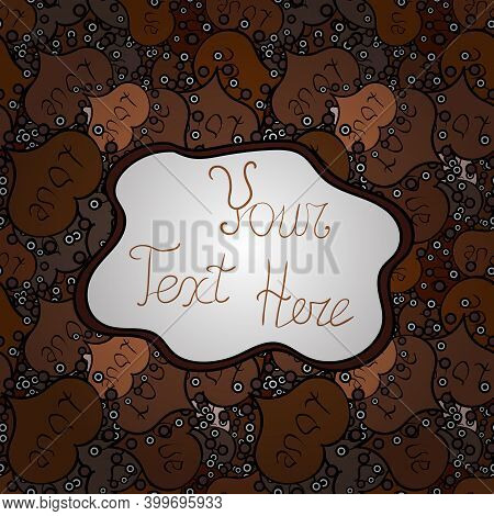 Seamless Print. Flat Doodles. Design. Cute Fabric Pattern. Elements White, Brown And Black On Colors