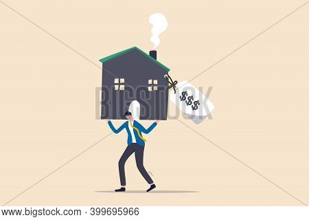 Overpay In Real Estate And House Mortgage, Too Much Invest Or Expense To Pay For Debt And Loan In Ec