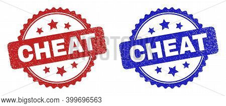 Rosette Cheat Seal Stamps. Flat Vector Textured Seal Stamps With Cheat Message Inside Rosette Shape