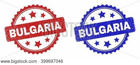 Rosette Bulgaria Seals. Flat Vector Grunge Seals With Bulgaria Text Inside Rosette With Stars, In Bl