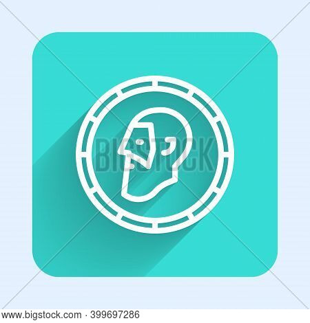White Line Ancient Coin Icon Isolated With Long Shadow. Green Square Button. Vector