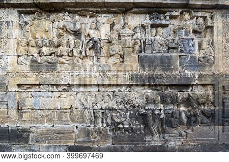 Bas-relief Statue At Borobudur, A 9th-century Mahayana Buddhist Temple In Central Java, Indonesia. I