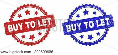 Rosette Buy To Let Seal Stamps. Flat Vector Grunge Seal Stamps With Buy To Let Text Inside Rosette W